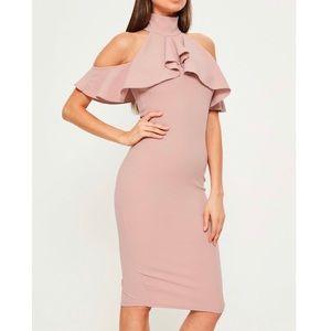 Missguided Pink High Neck Cold Shoulder Dress 4